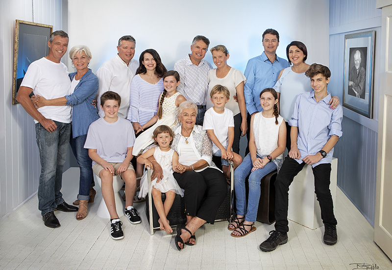 Studio portraits of three generations of Margaret Ward and family by Robyn Hills Photography, Caloundra, Australia